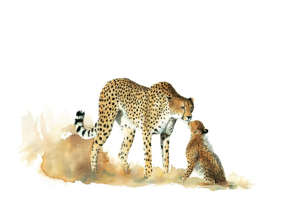 painting of a cheetah mother and cub
