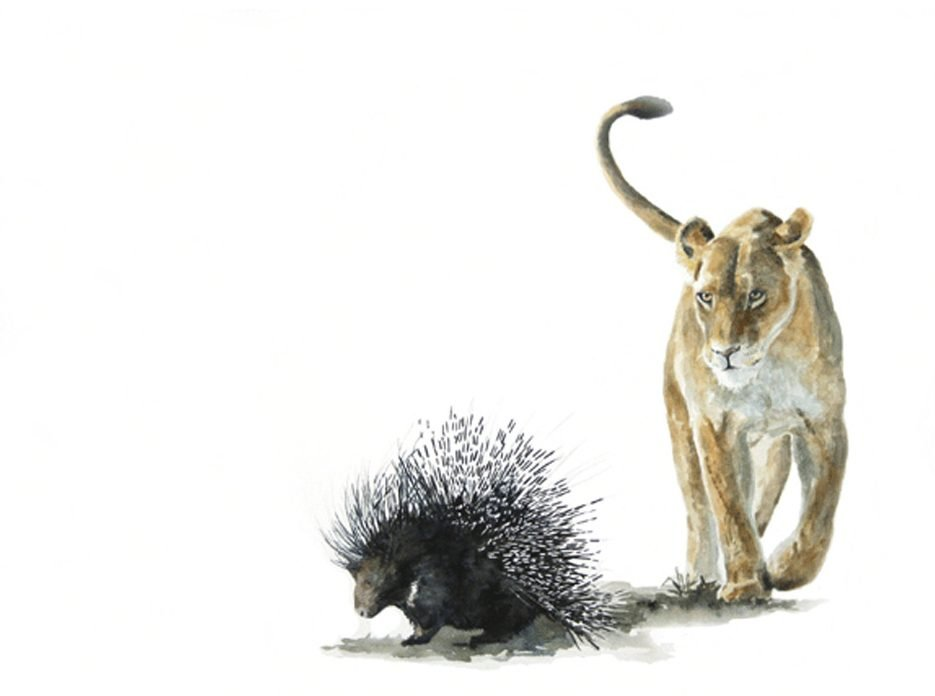 painting of a lion and porcupine