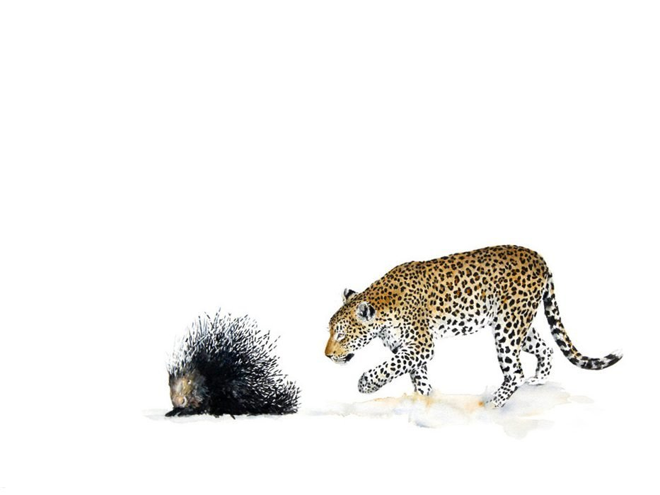 painting of a leopard with a porcupine