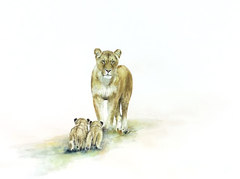Original painting of lion cubs and lioness