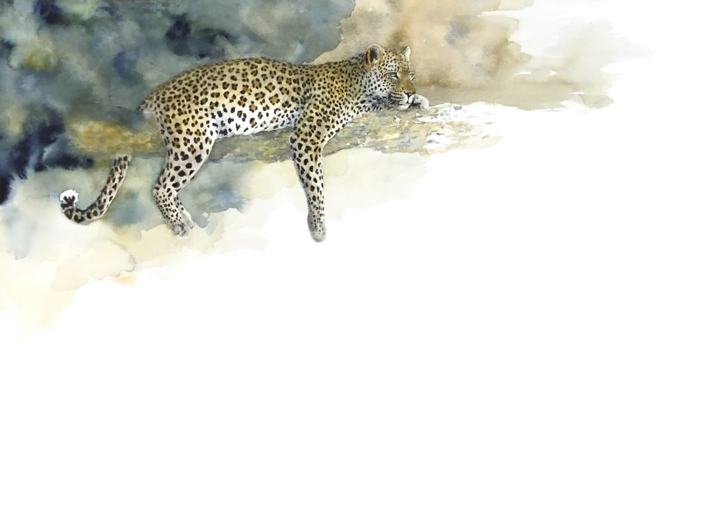 Painting of a leopard in a tree