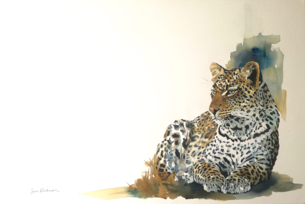 original painting of leopard in the sun