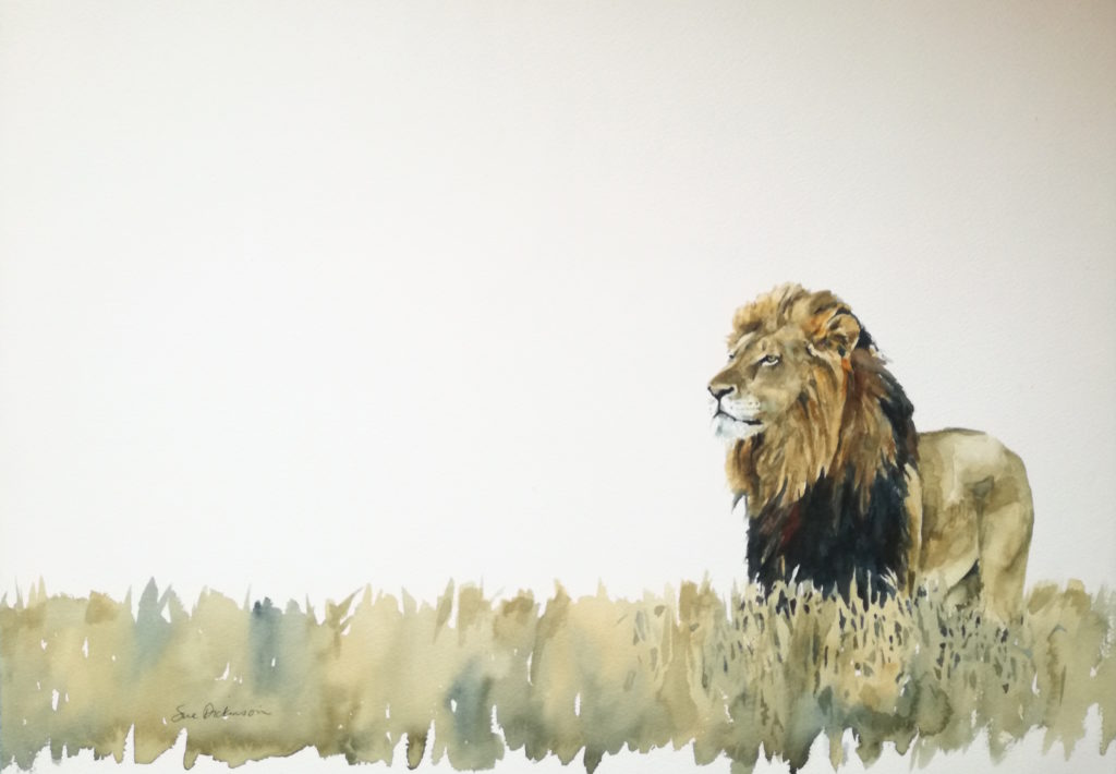 original watercolor of lion