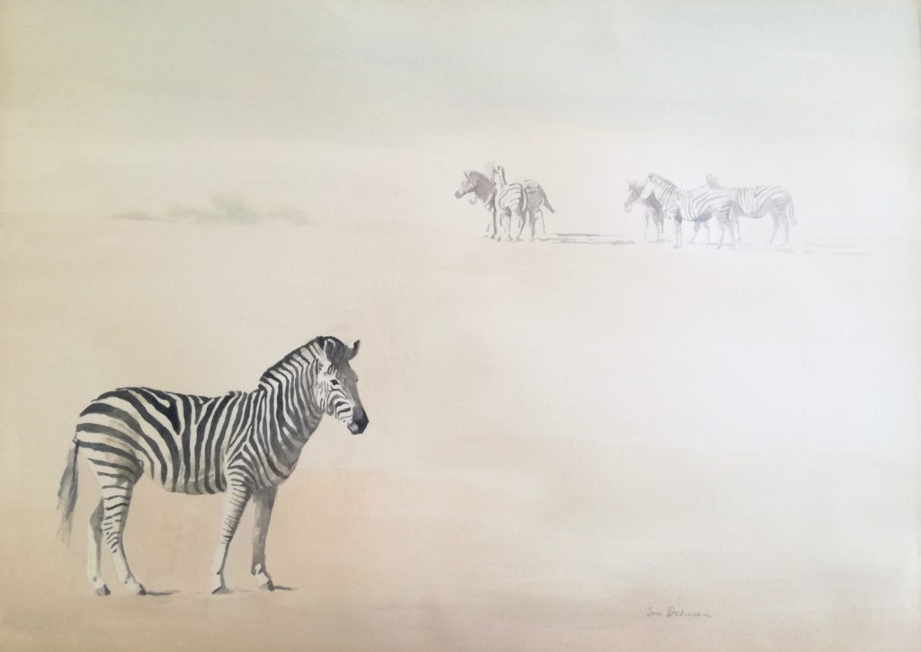 original painting of zebras in the dust