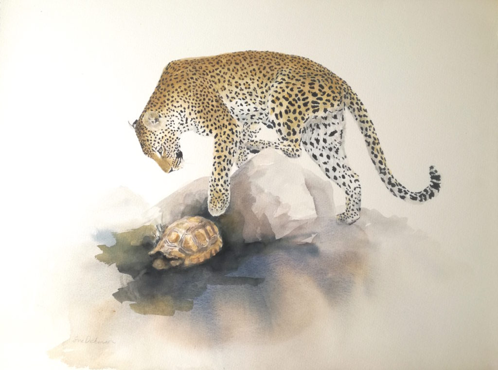 painting of leopard and tortoise