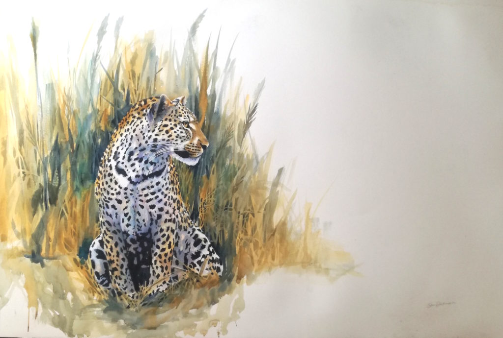 original painting of leopard in reeds